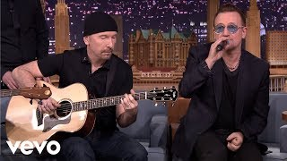 "U2 performing ""Ordinary Love"" acoustic on 'The Tonight Show starrin..."