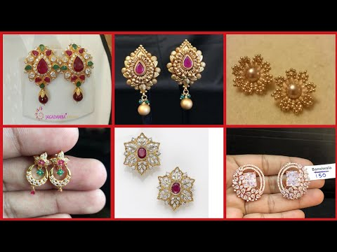 Amazing different types of short and long length earrings/gold stud &all types of earring with Stone