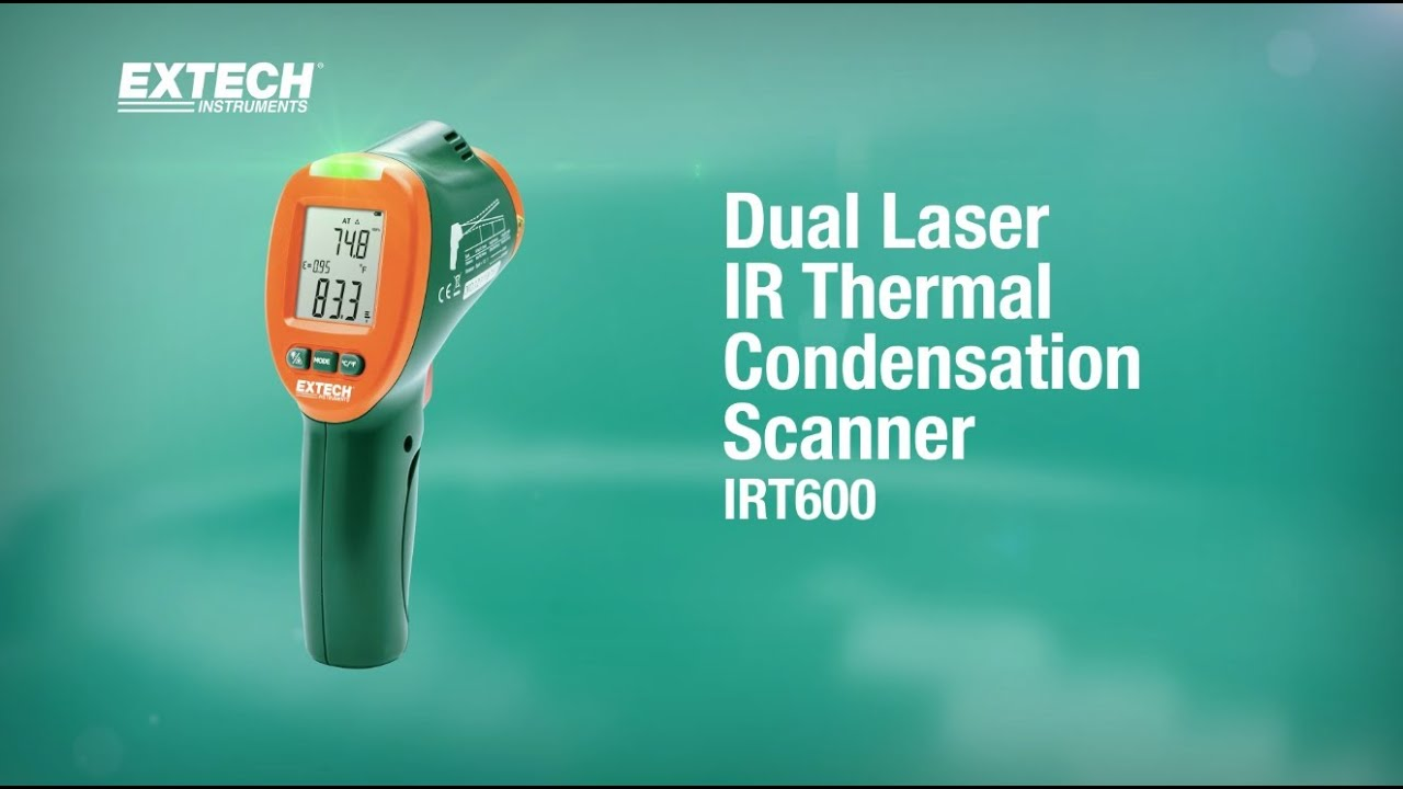 Extech IRT600 Dual Laser Infrared Thermometer with Humidity and Dew Point 12: 1