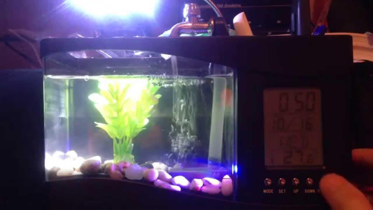 Usb mini aquarium fish tank with colorful light - Mini Lcd Display Desktop Fish Tank Aquarium Usb Aquarium Led Clock Black Desktop Lamp Light Calendar