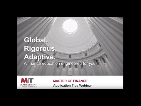 MIT Sloan: MFin Application Tips Livestream 2019