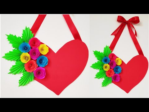 DIY Heart Wall Hanging Paper Craft/Valentine's Day Room Decoration Idea/Heart Wall Hanging