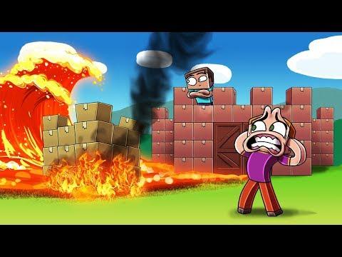 Minecraft   BOX FORT VS LAVA TSUNAMI CHALLENGE! (Will the Cardboard Burn?)
