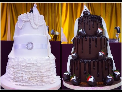3 Tier Wedding Cake Bride Grooms Two Sided Cake YouTube - Bride Wedding Cake