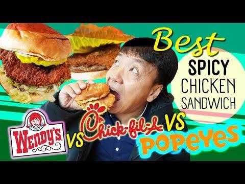 BEST SPICY CHICKEN SANDWICH! Popeyes Vs. Wendy's Vs. Chick-fil-A