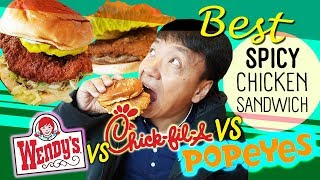 BEST SPICY CHICKEN SANDWICH! Popeyes vs. Wendy's vs. ChickfilA
