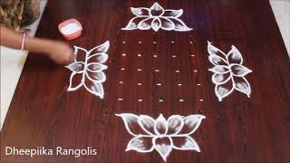 simple and easy friday lotus muggulu with 9x3x3 dots friday kolangal new muggulu rangolis
