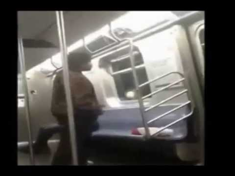 Man Out His Mind On New York Subway Having Argument with Poles!