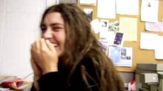 Cute hippie girl being funny.MOV