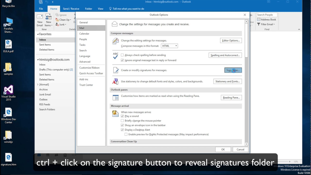 Outlook 2019 signature not opening
