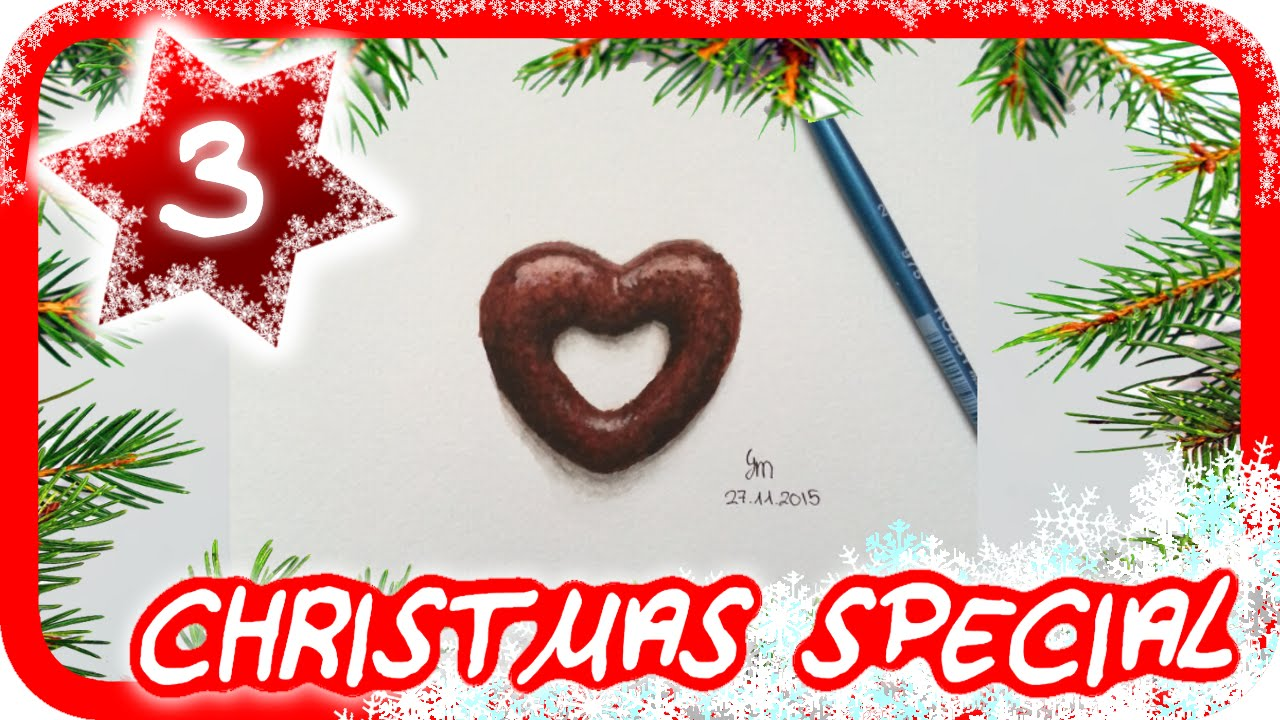 Drawing Advent Calendar #3 : Chocolate gingerbread heart - YouTube