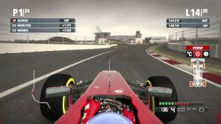 F1 2012 - 50% Race - 24th to 1st - Fernando Alonso - Commentated