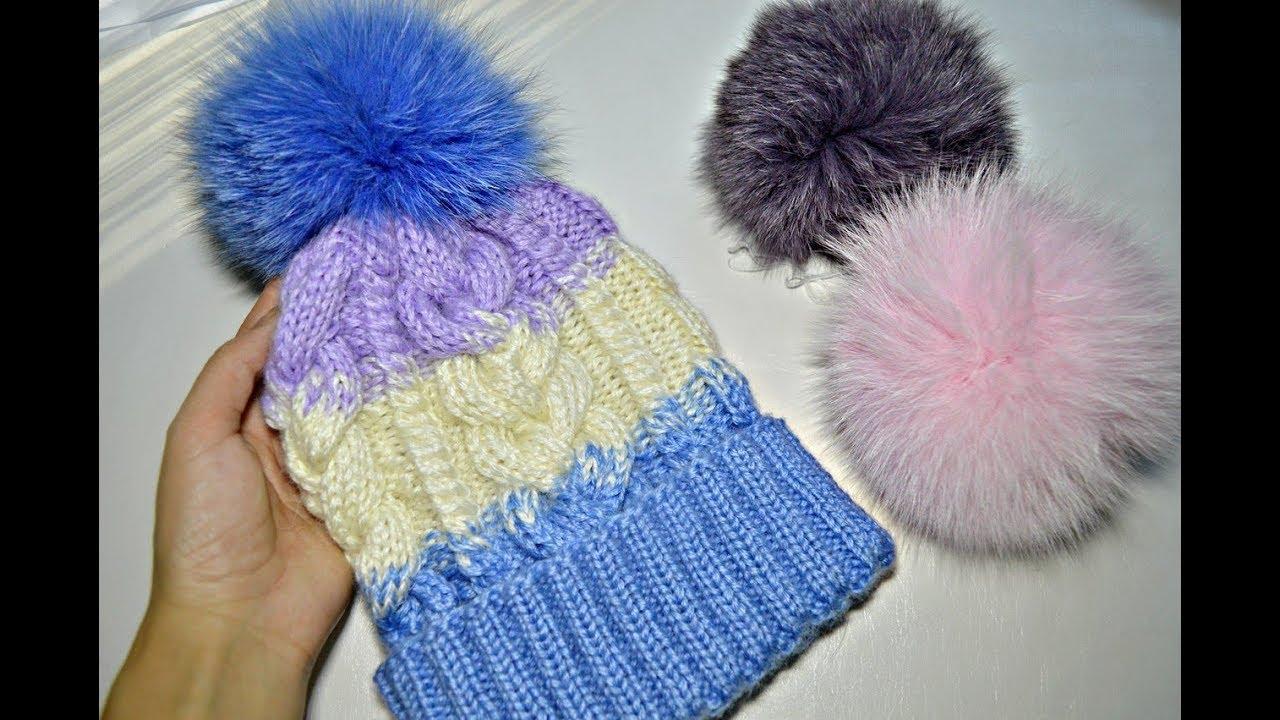 Вязание шапок со жгутами