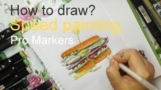 How to draw? Food Illustration. Speed painting. Рисую маркерами