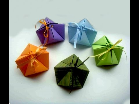 Origami gift box. Origami Box cindy - 9 Corners. Great ideas for Christmas gifts.