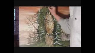 Wie male ich einen Uhu? How to paint an owl