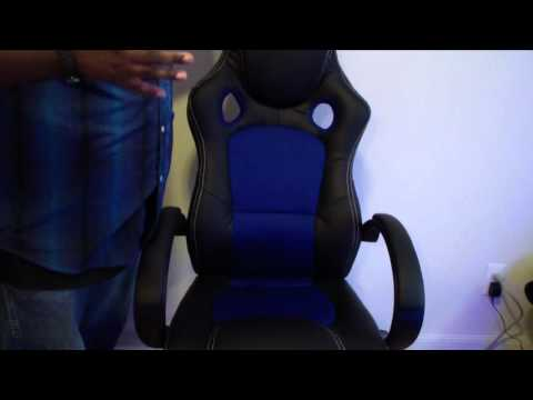 unboxing-best-choice-products-leather-high-back-race-car-style-bucket-seat-gaming-blue-&-black