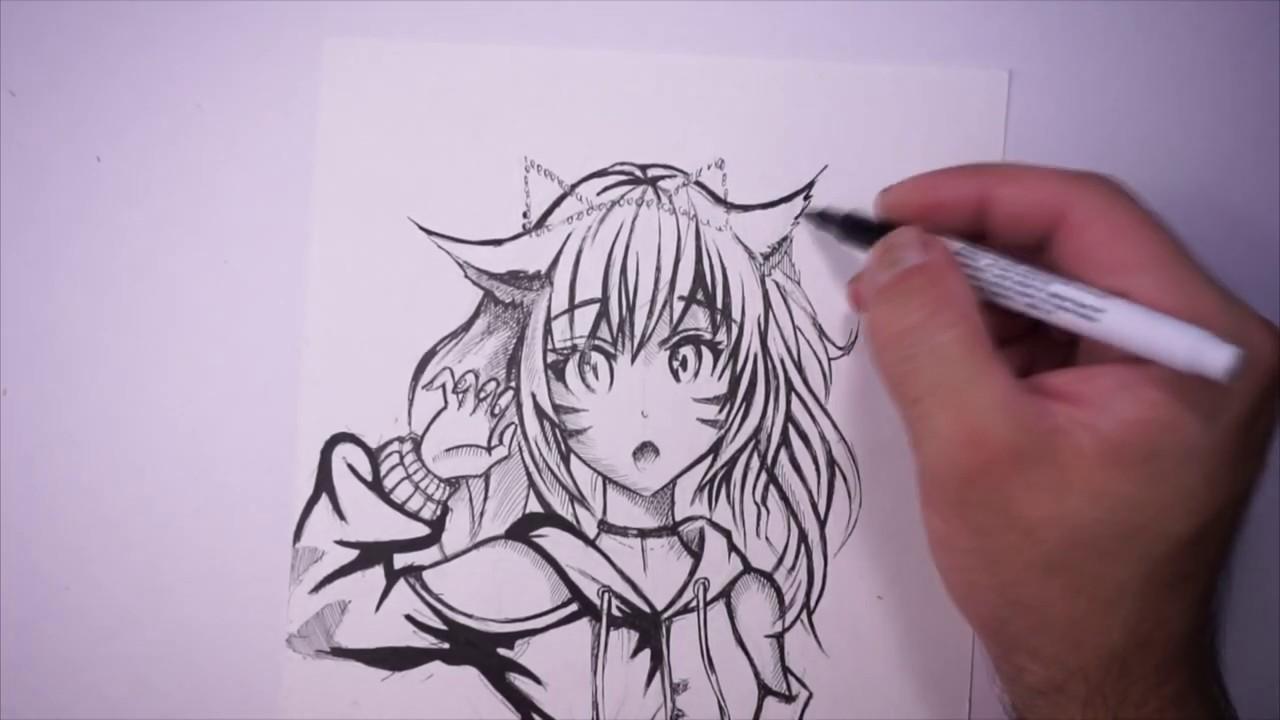 Рисунок аниме, манга, девушка-кошка, anime, manga - YouTube