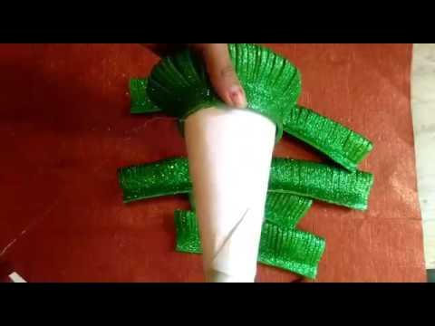 DIY how to make christmas tree, glitter foam sheet christmas tree, handmade christmas tree