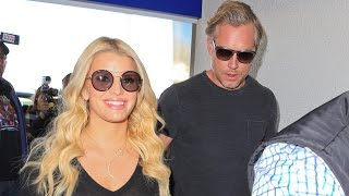 Repeat youtube video Jessica Simpson Wears A Sheer Top And Big Smile Through LAX