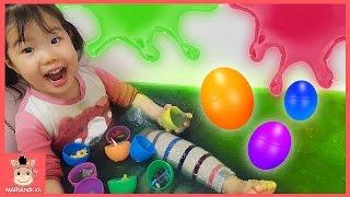 액체괴물 서프라이즈 에그 알까기 놀이 ! 어린이 슬라임베프 만들기 ♡ 꾸러기 유니 액괴 목욕 게임  Kids Play Toys Slime | 말이야와아이들 MariAndKids
