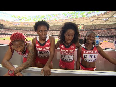 WCH 2015 Beijing - Team Trinidad and Tobago 4x100m Relay Women Heat 2