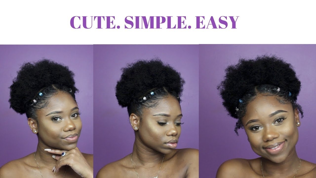 Hairstyle For Short Medium Natural Hair Under 10 Minutes Youtube