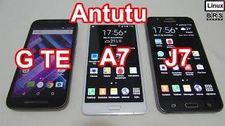 Moto G Turbo Edition, Galaxy A7 e Galaxy J7 - Antutu Benchmark - Português