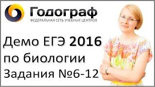 Демо ЕГЭ по биологии 2016 года. Задания 6-12