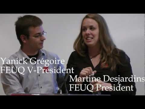 FEUQ Pres. on Quebec Student Strikes, June 19 Vancouver Pt1