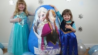 Repeat youtube video DISNEY FROZEN Videos SUPER GIANT Surprise Egg The Worlds Biggest Ever Elsa Anna Dolls Let it Go Wand
