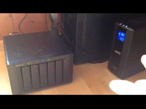 Synology NAS DS1513+ automatic shutdown/turn on test connected to APC  BR900GI UPS