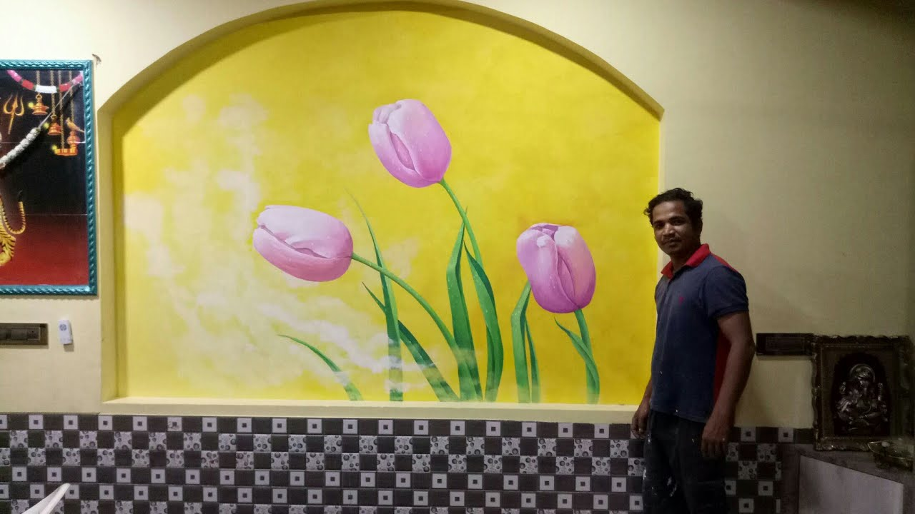 flower wall painting | wall painting ideas for home decor - YouTube