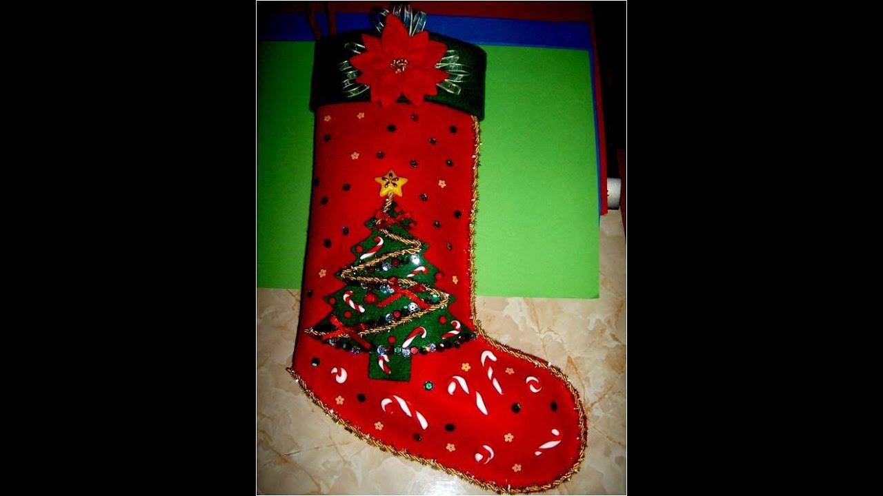 Bota Navideña con relieves escarchados - , Christmas Crafts - YouTube