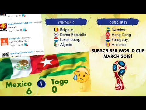 MARCH 2018 SUBSCRIBER WORLD CUP!