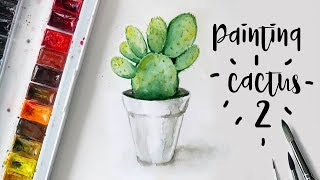 Painting Cactus 2 with Watercolors | Beavertail Cactus