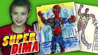 Костюм ЖЕЛЕЗНОГО Человека Паука / Как нарисовать человека паука с Супер Дима