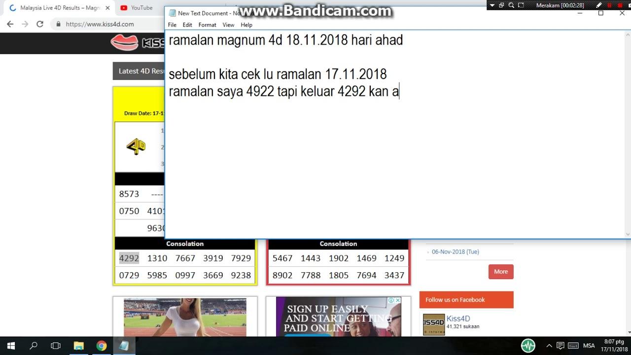 ramalan namber ekor magnum 4d 18 11 2018 hari ahad / ramalan