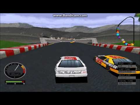 NASCAR Road Racing (PC) Gameplay (Darrell Waltrip) (Bridgeport Speedway) (5 Laps)