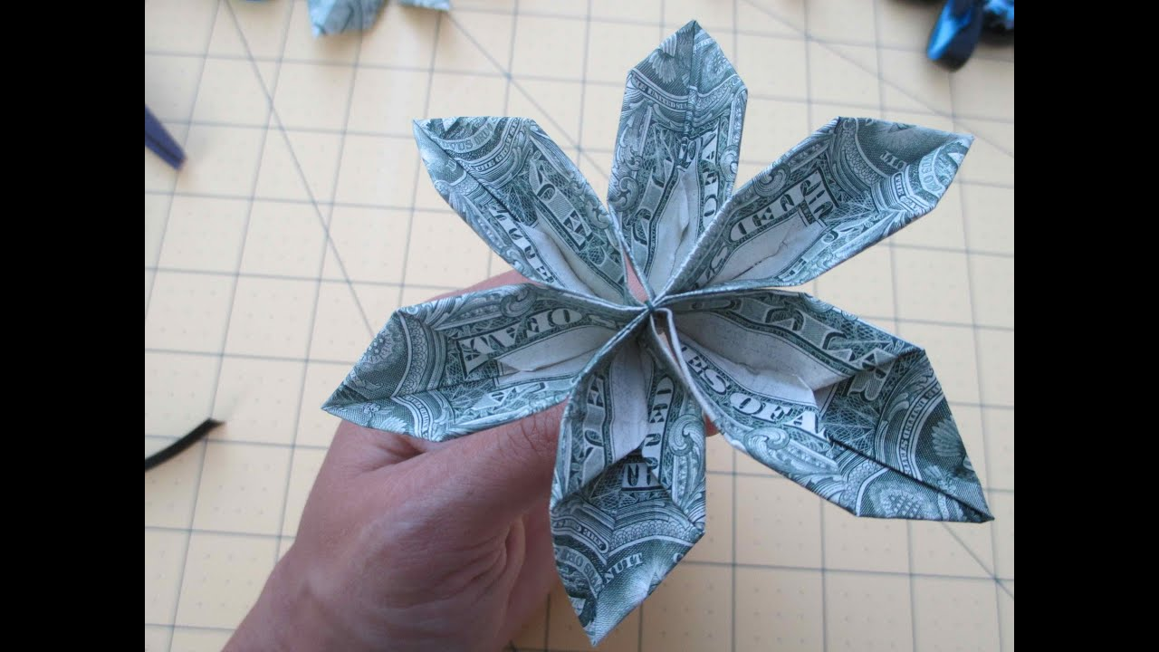 How To Make A Money Origami Flower For Leis  Asimplysimplelife  Youtube