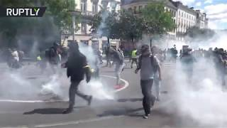 Tear gas & water cannons in Nantes as Yellow Vests march for 26th weekend in row