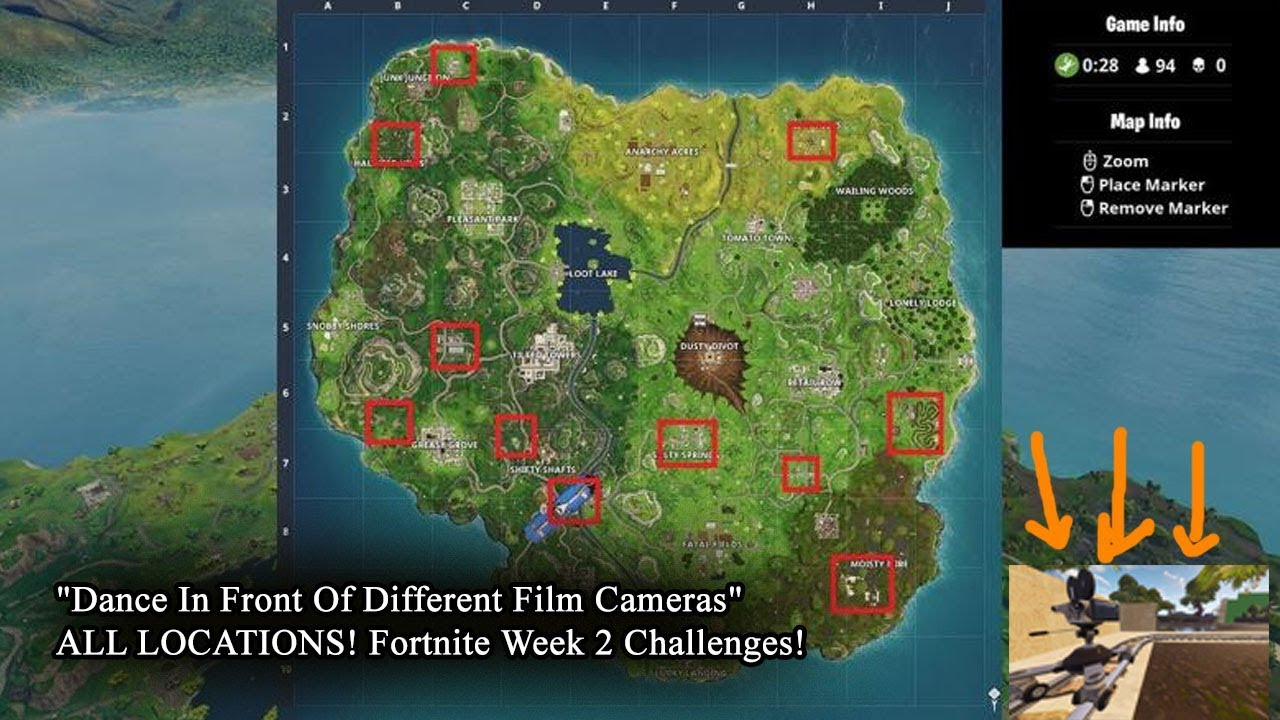 dance in front of different film cameras all locations fortnite week 2 challenges - fortnite week 2 cameras