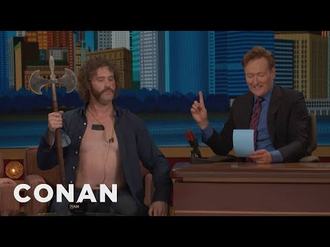 Why T.J. Miller Is Shirtless With A Battle Axe  CONAN on TBS