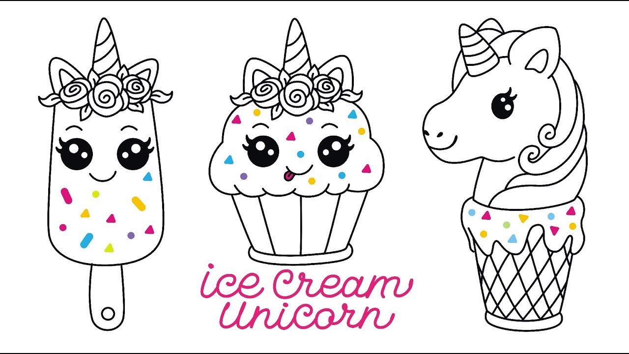 Gambar Ice Cream Unicorn Cake Squishy Easy Drawing