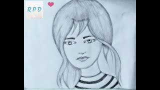 Drawing beautiful girl face simple pencildrawing RPD easy pencildrawing Pencilsketch