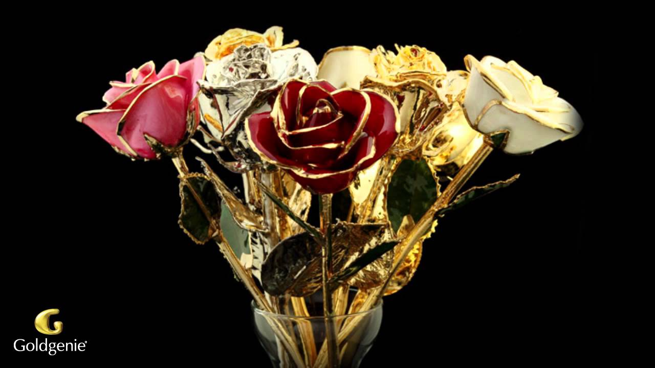 gold valentine 39 s day roses video goldgenie youtube. Black Bedroom Furniture Sets. Home Design Ideas