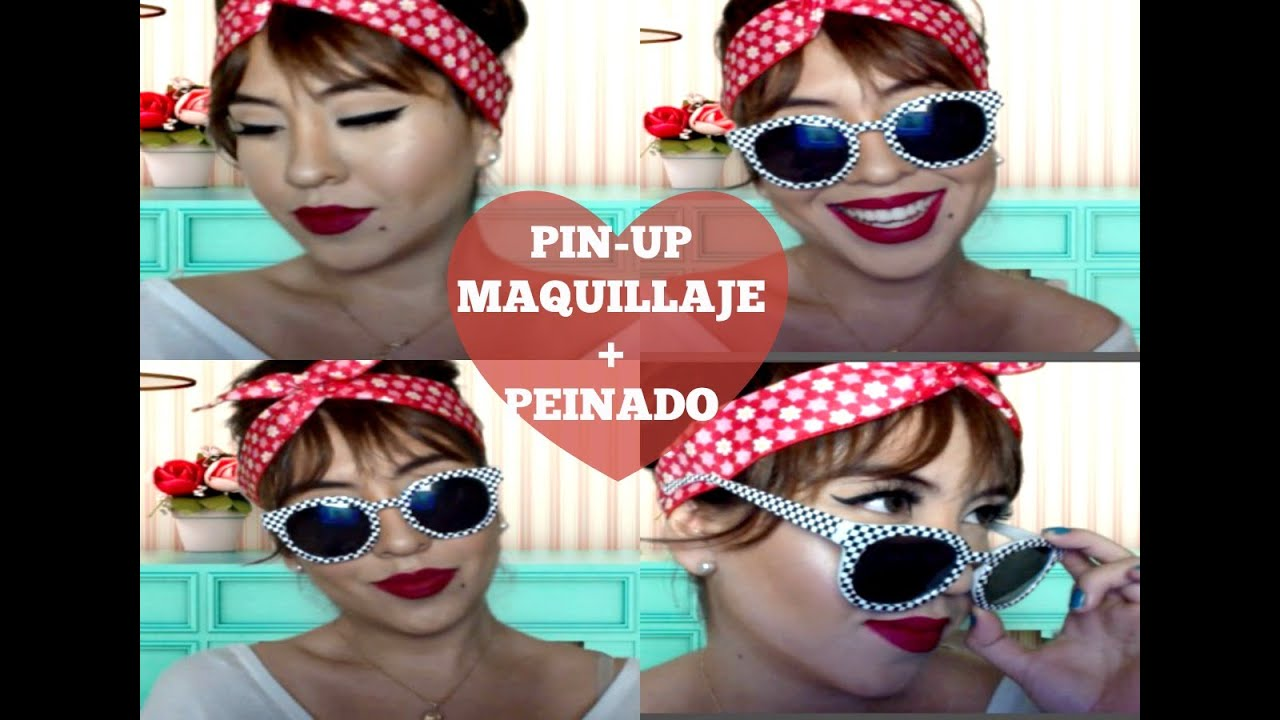 pin up maquillaje peinado original con truco youtube. Black Bedroom Furniture Sets. Home Design Ideas