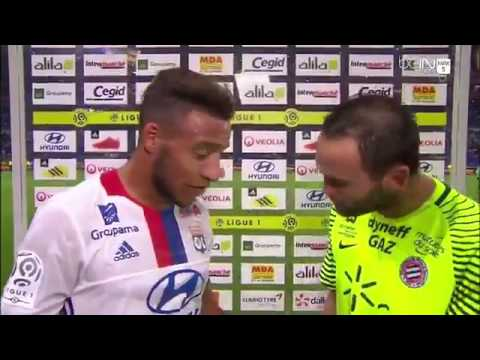 Jourdren interrompt l'interview de Corentin Tolisso à la mi temps Lyon MOntpellier
