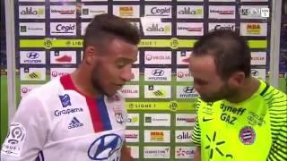 Jourdren interrompt l'interview de Corentin Tolisso à la mi temps Lyon MOntpellier