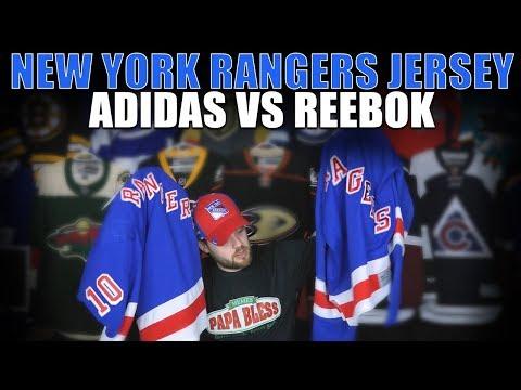 hot sales de5de 9e9ee New York Rangers Adidas vs Reebok Jersey Comparison + Patreon Stuff